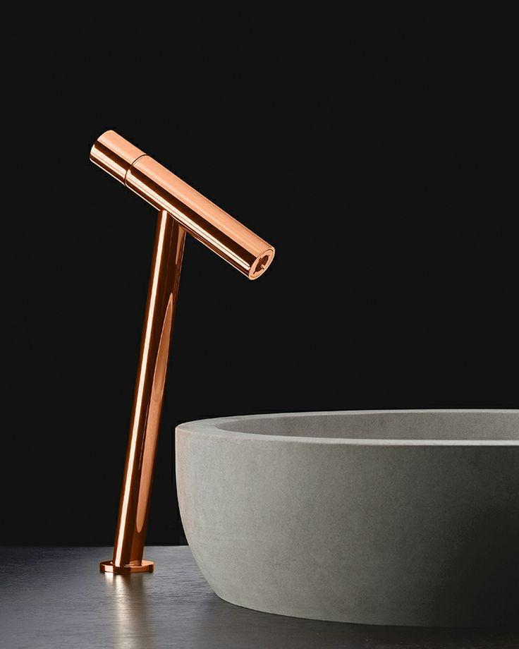 thepsychobath: Copper mixer METRO 3 with a blue bateig stone MOON washbasin. Design by Lavernia Cienfuegos for SANICO
