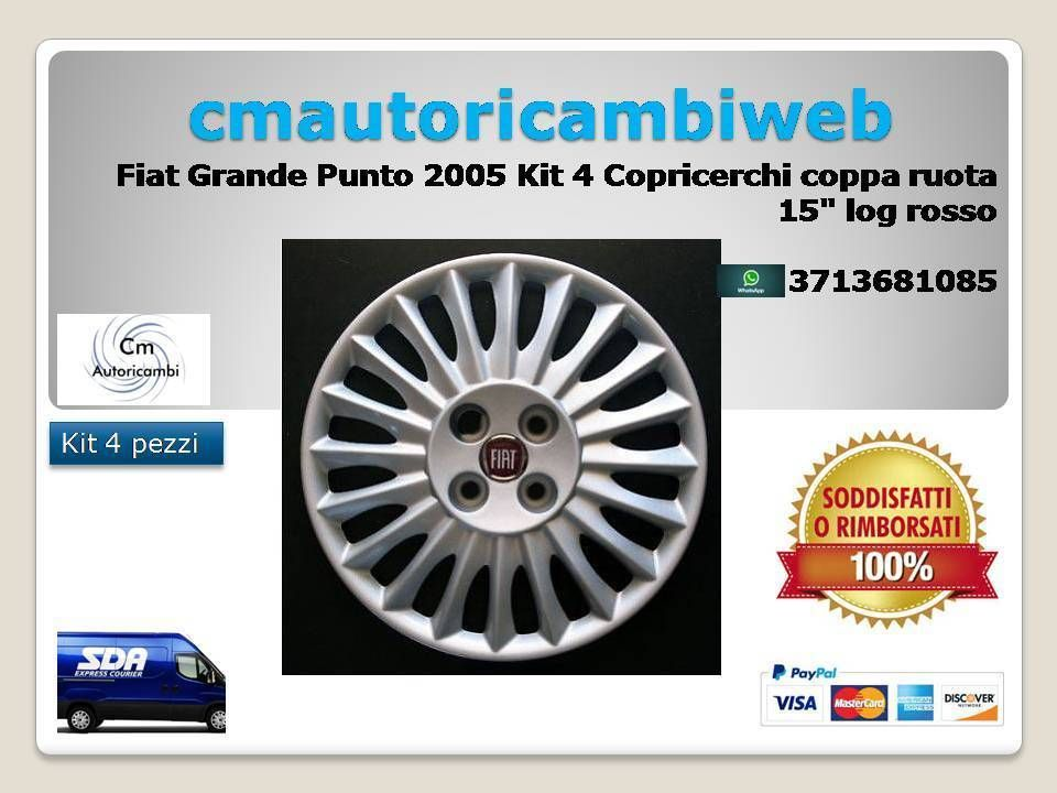 FIAT GRANDE PUNTO 2008 FL 2008 COPRICERCHIO COPPA RUOTA LOGO ROSSO 15``