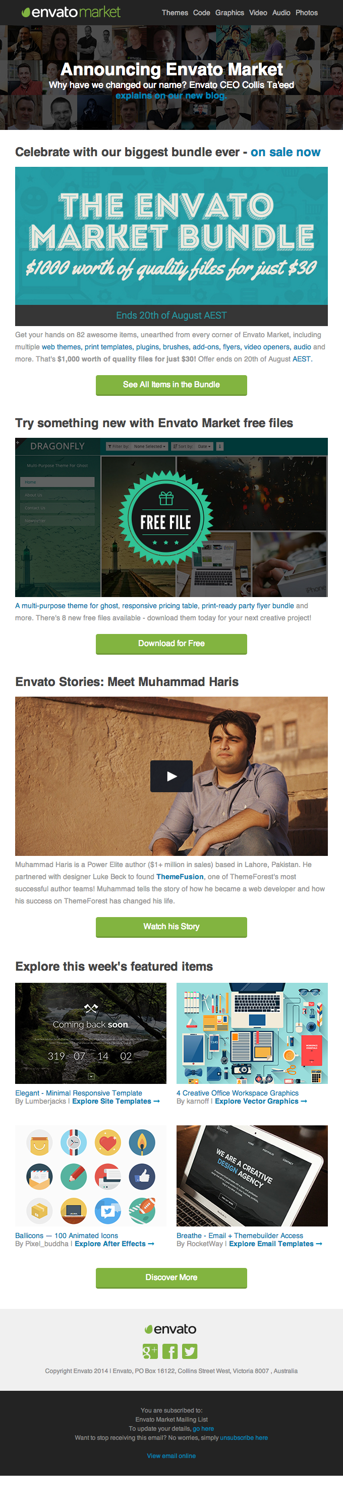 testimonial video idea envato email newsletter august 2014