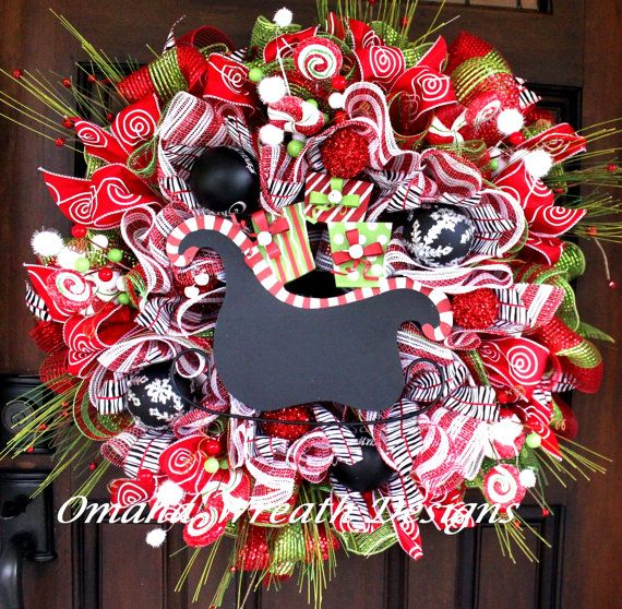 Deco Mesh Christmas Santa Wreath Wreaths, Santa wreath and Santa