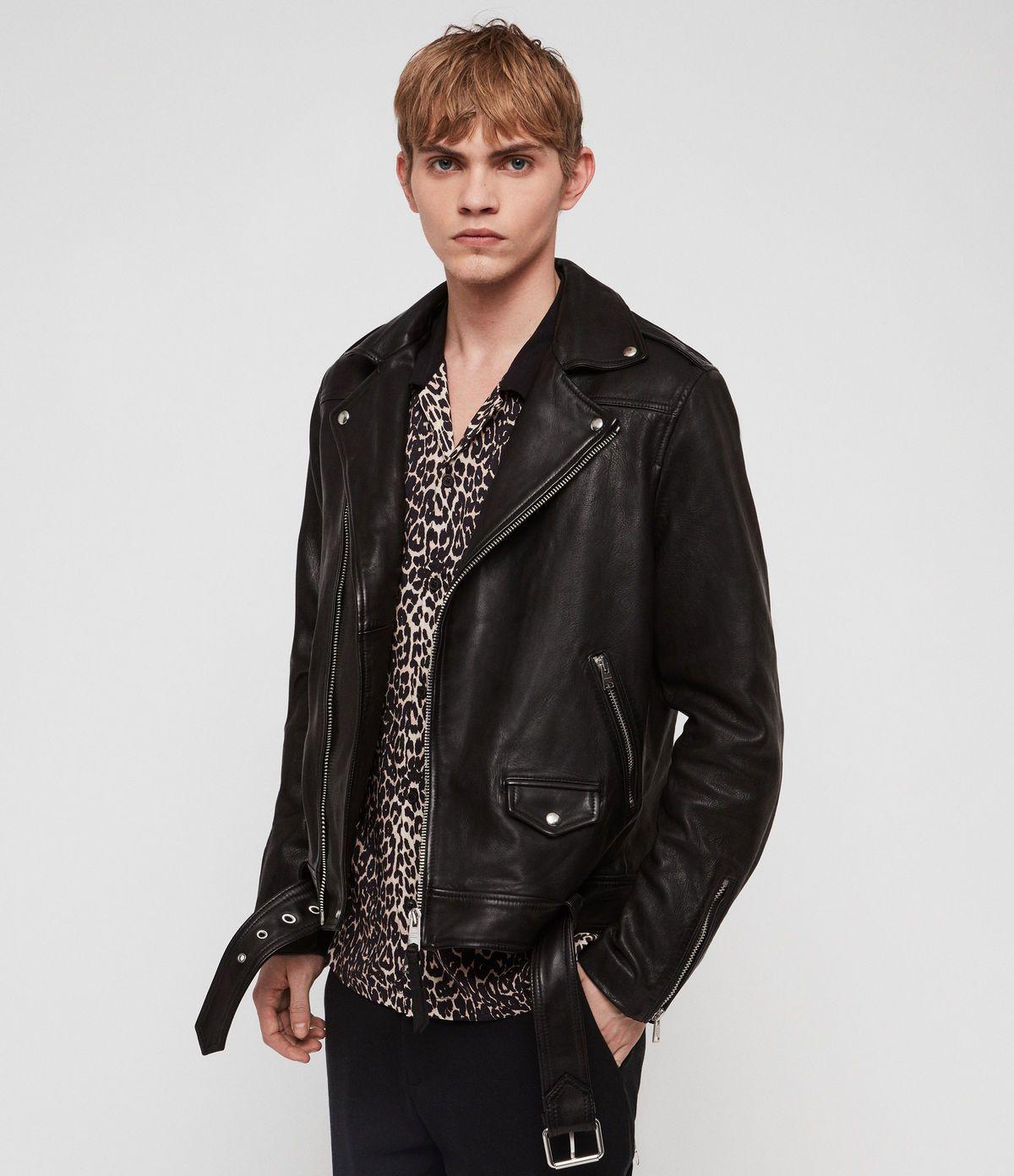 Allsaints Us Mens Manor Leather Biker Jacket Black Leather Jeans Men Leather Jacket Details Leather Bomber Jacket [ 1392 x 1200 Pixel ]