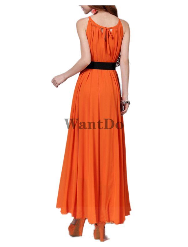 3cc2005c6b1 Women s maxi chiffon dress with belt