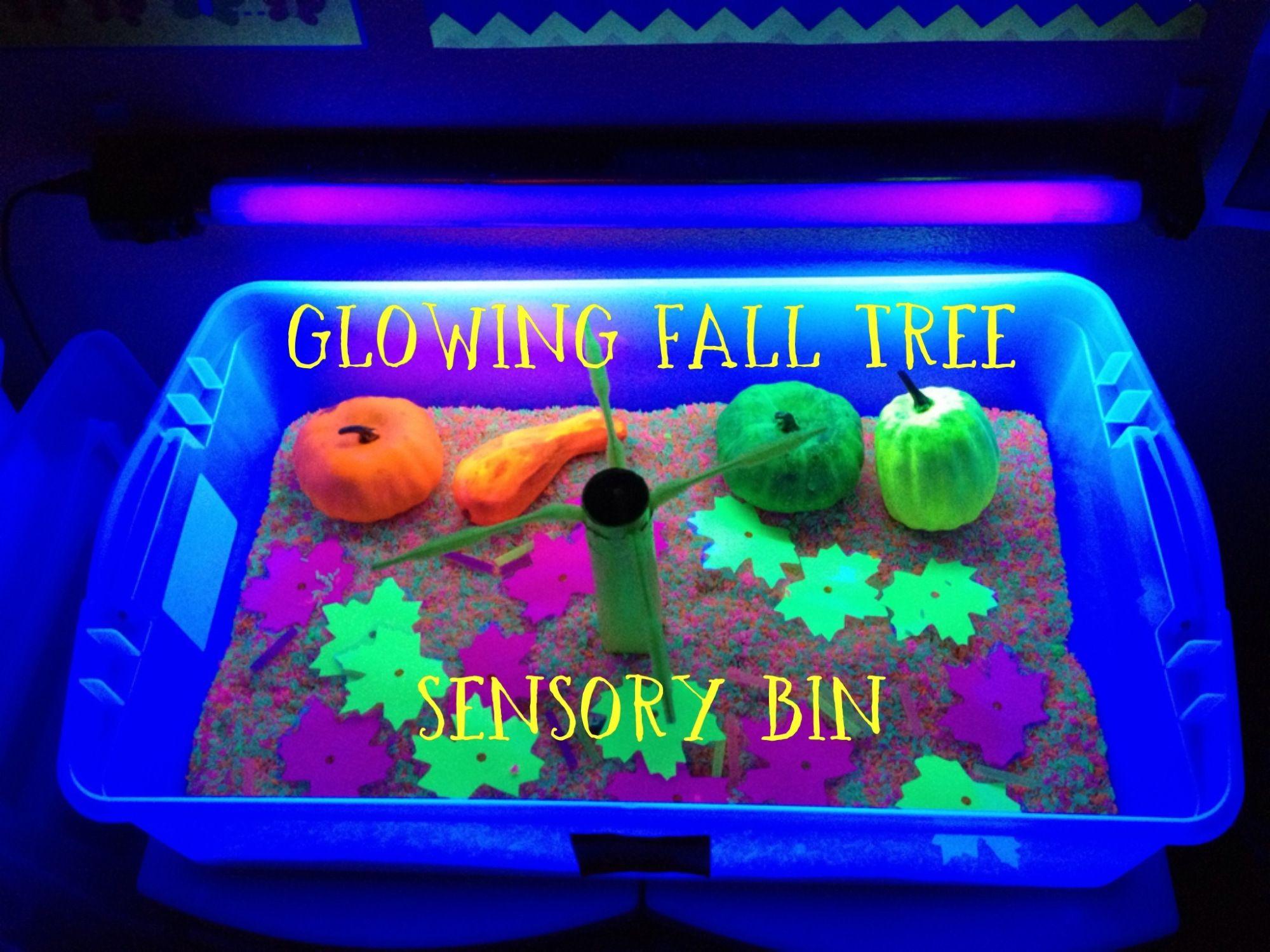 Glowing Fall Sensory Bin