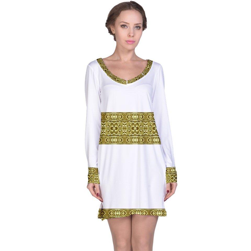 Stripe Baroque Print Long Sleeve Nightdress by #dflcprints