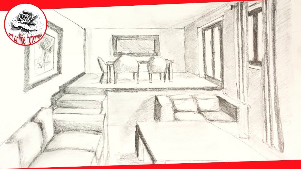 How To Draw A Living Room In One Point Perspective Youtube