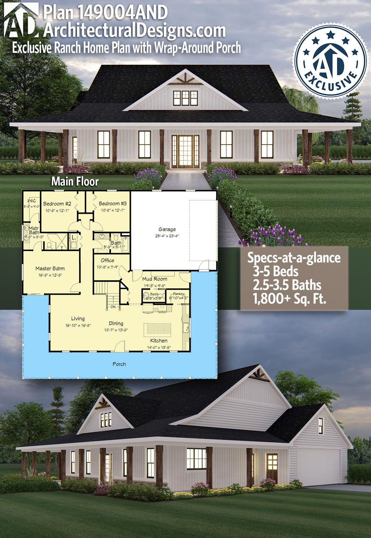 Plan 149004and Exclusive Ranch Home Plan With Wrap Around Porch House Plans Farmhouse Barn House Plans Country House Plans