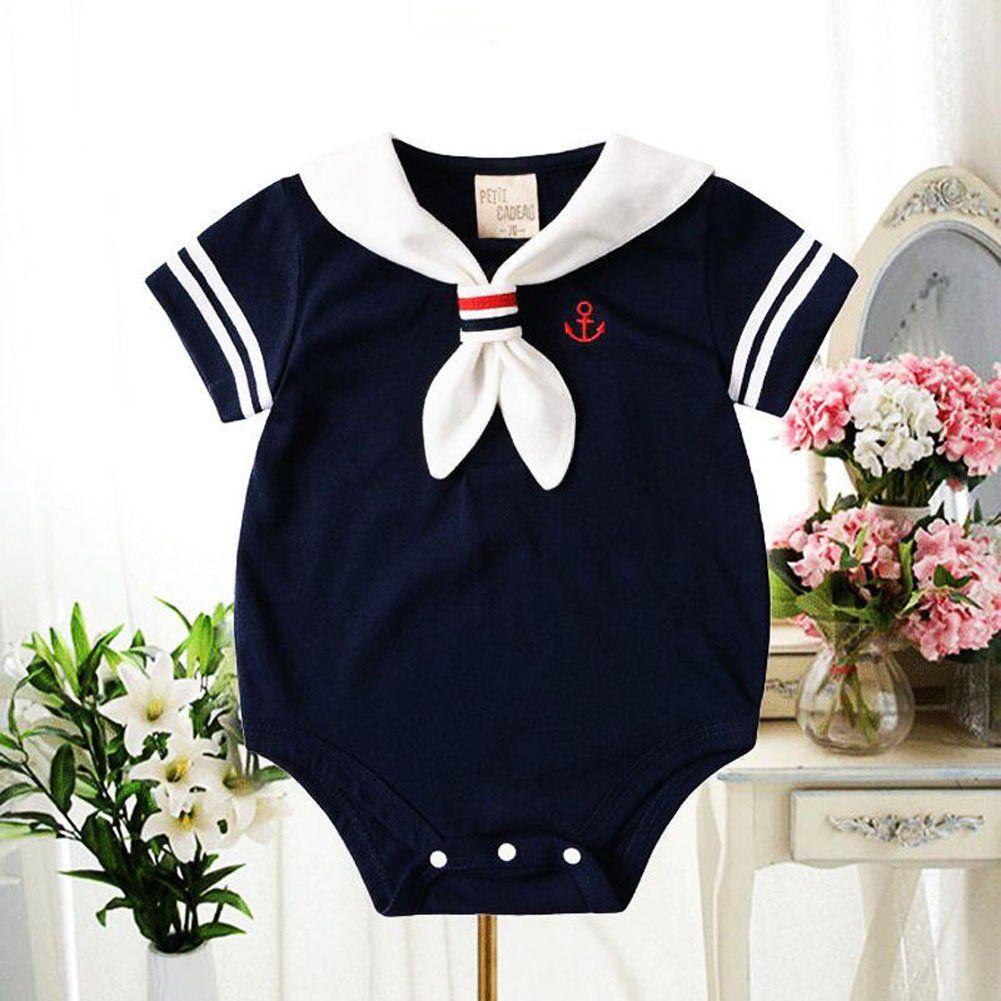 2b334411859 Newborn Cotton Sailor Rompers Baby Toddler Kids Jumpsuit Girl Boy Bodysuit  Clothes Outfits 80cm Blue     For more details