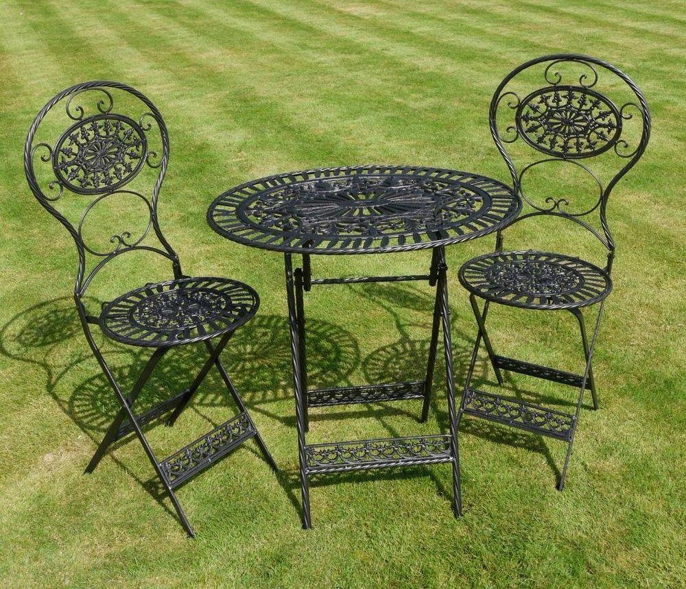 Shabby chic antique black metal garden furniture iron ...