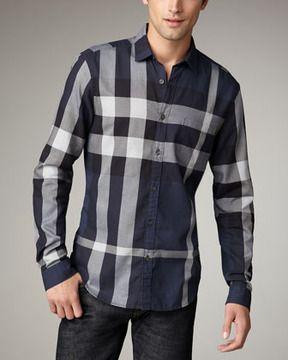2e8b0c89edcc Burberry Brit Quad-Check Woven Shirt, Navy | Stylish Guy | Burberry ...