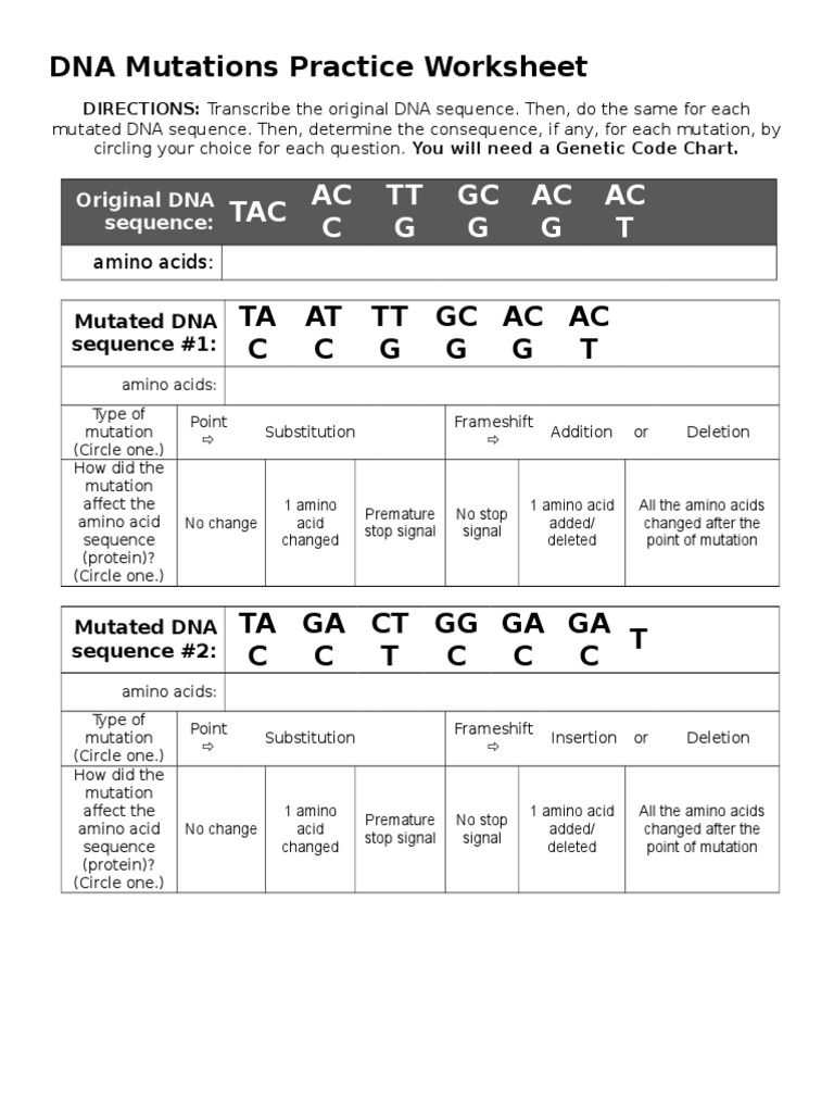 Gene Mutations Worksheet Answer Key - worksheet