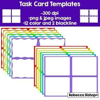Free Task cards templates! Task Cards Pinterest Free task - flash card template