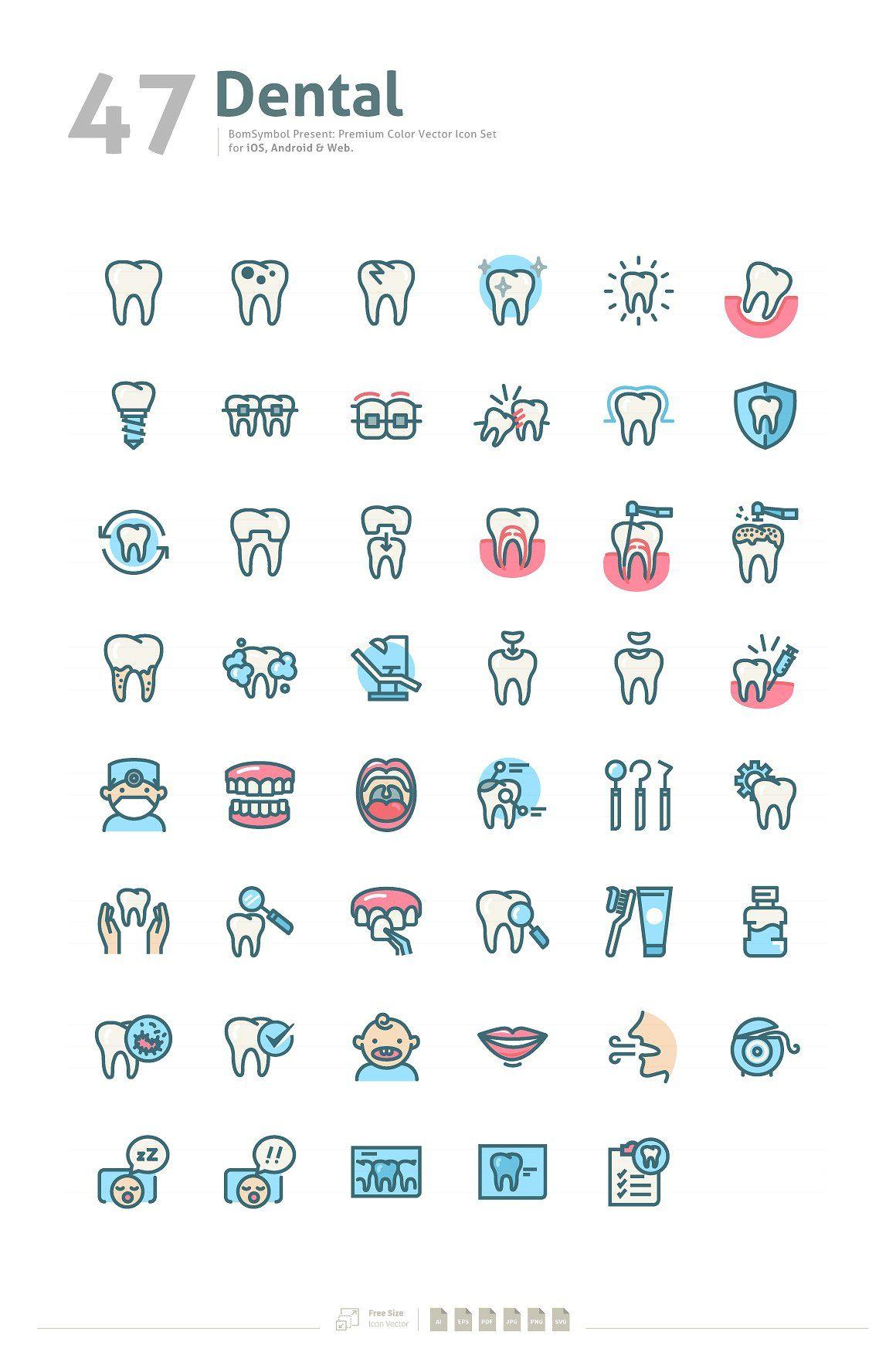 Dental Premium Colors Icon Set Tatuaje de diente, Arte