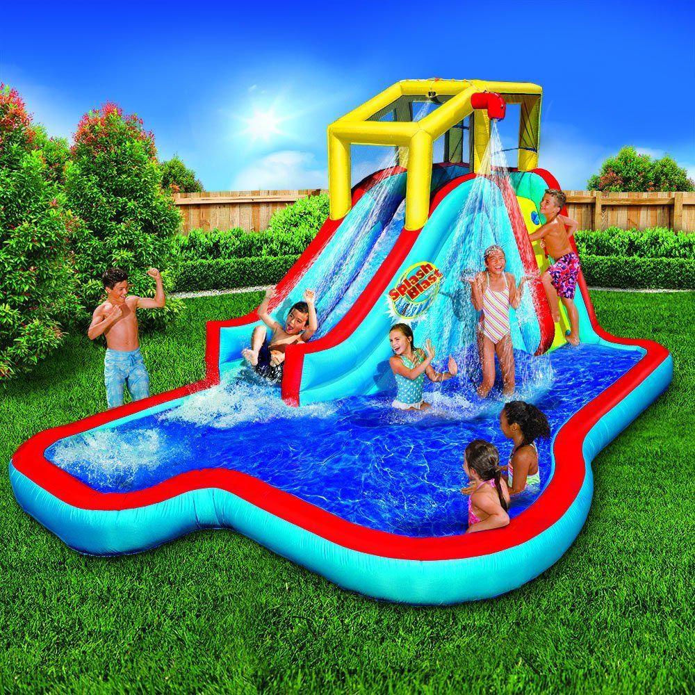 Banzai Splash Blast Lagoon Inflatable Outdoor Water Slide Backyard Pool In 2019