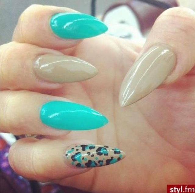 Nude Aqua And Cheetah Print Stilettos Stiletto Nails