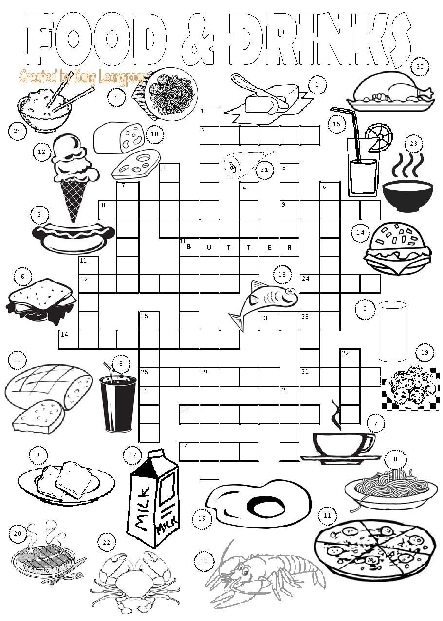 Crossword: Food 1 | Teaching English | Pinterest | Crossword ...