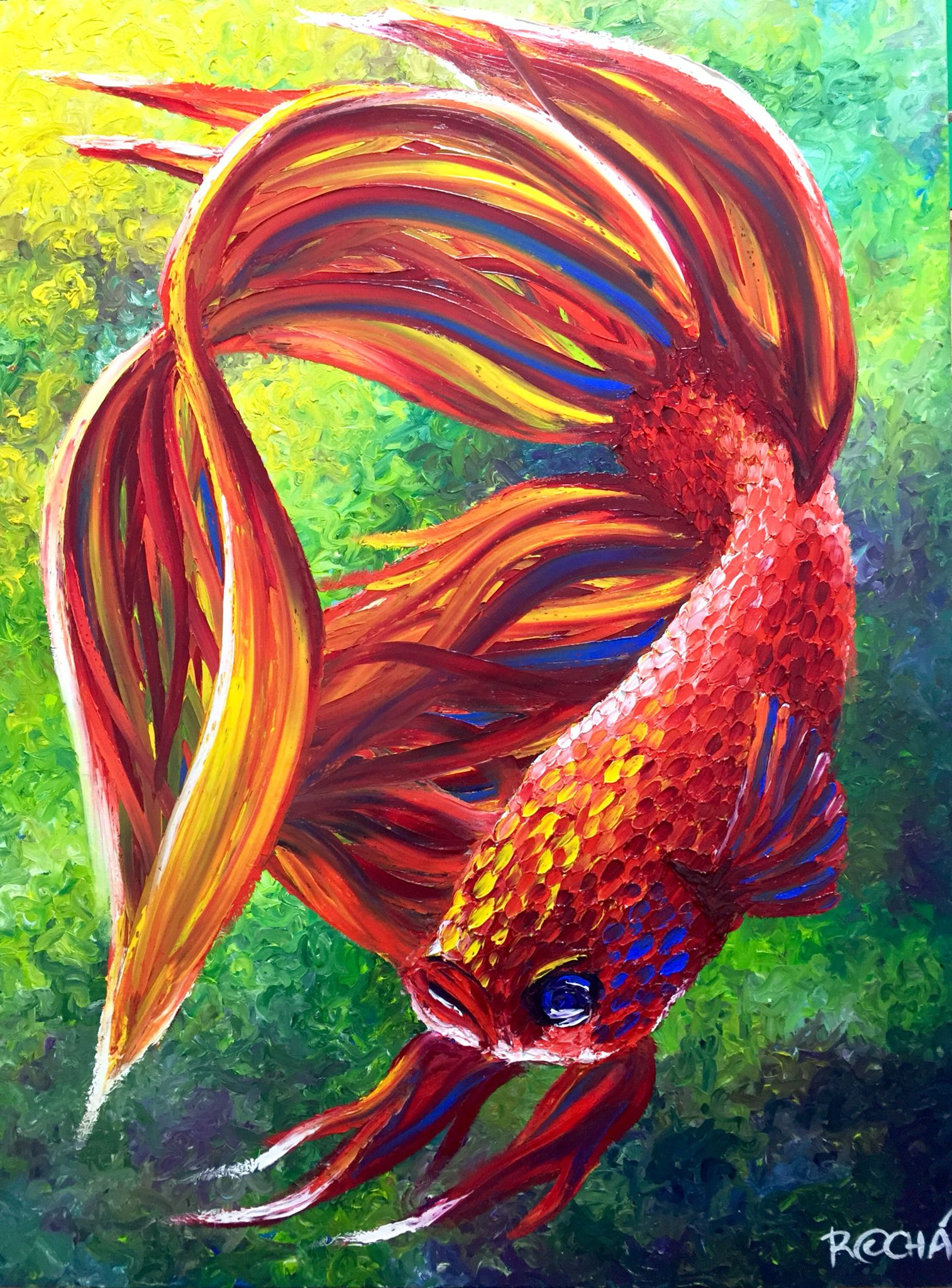 Betta fish oil on canvas 100 finger painting by marcelo for Betta fish painting