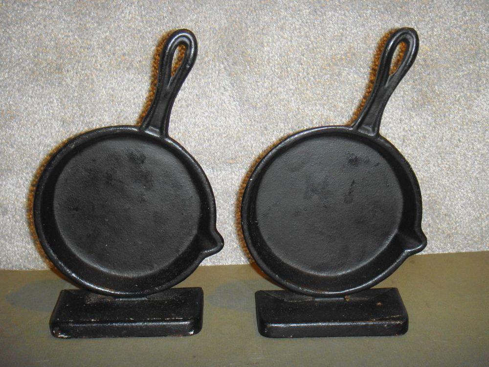 Vintage Emig 1285 Cast Iron Frying Pan Skillet Bookends Pair Cast