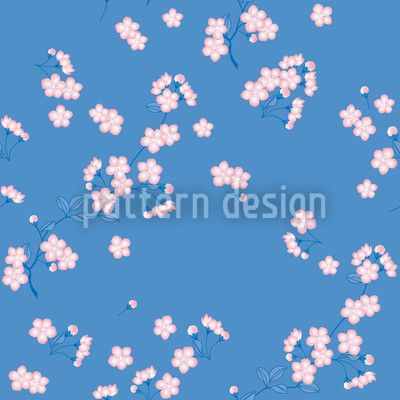 Cherry Blossoms Blue by Martina Stadler available for download as a vector file on patterndesigns.com