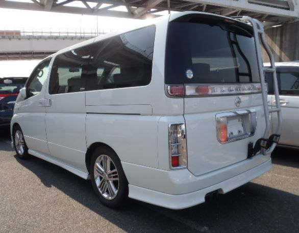 Viewed from the rear the Nissan Elgrand Rider with ...