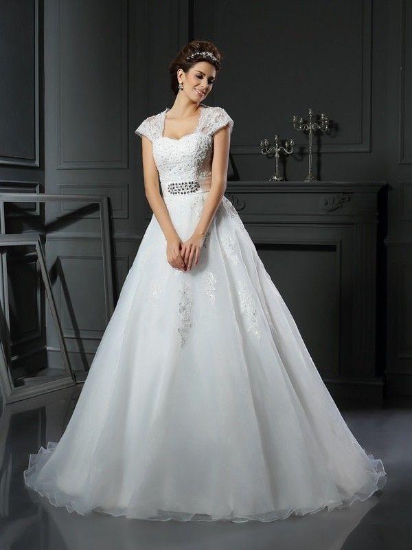 Ball Gown Square Beading Sleeveless Chapel Train Organza Wedding ...
