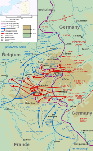 Map showing the swelling of the bulge as the german offensive map showing the swelling of the bulge as the german offensive progressed creating the nose like salient during december gumiabroncs Choice Image