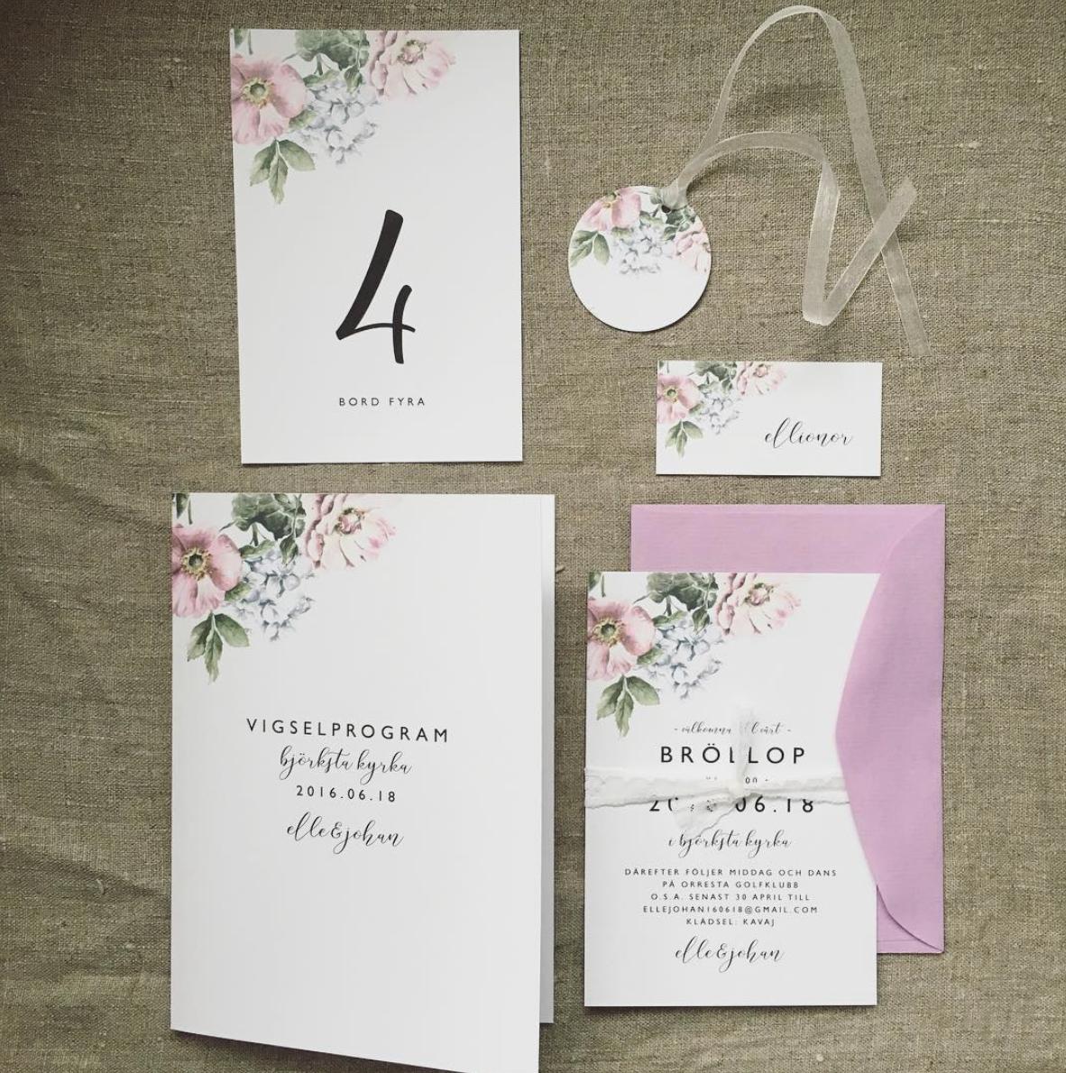 871955ec465d ... trycksaker till bröllop, inbjudningskort, vigselprogram, bordsnummer,  placeringskort, pastell, sommarbröllop, blomster - www.annagorandesign.se