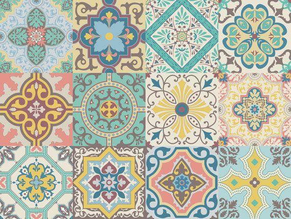 Vinyl decal self-adhesive Portuguese sticker tiles backsplash stair riser Decoration BELEM set kitchen bathroom (Pack 12) (6x6 15x15 cm) #setinstains