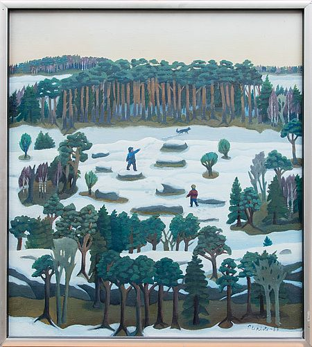 Pirkko Lepistö: Koiran kanssa metsässä, 1987, öljy kankaalle, 61x55 cm - Bukowskis
