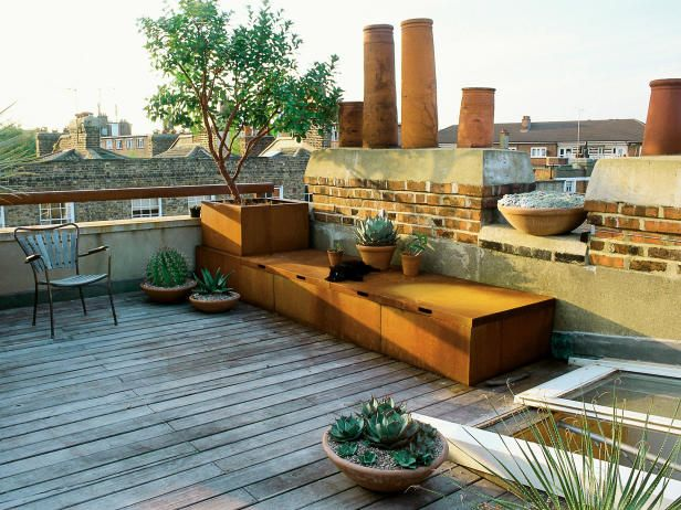 Superb Modular Seating Serves Double Duty As Both Seating And Storage For This Rooftop  Terrace Garden.