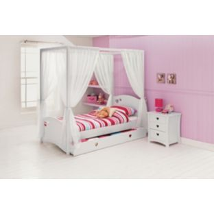 Buy Mia White Four Poster Single Bed With Dilly Mattress