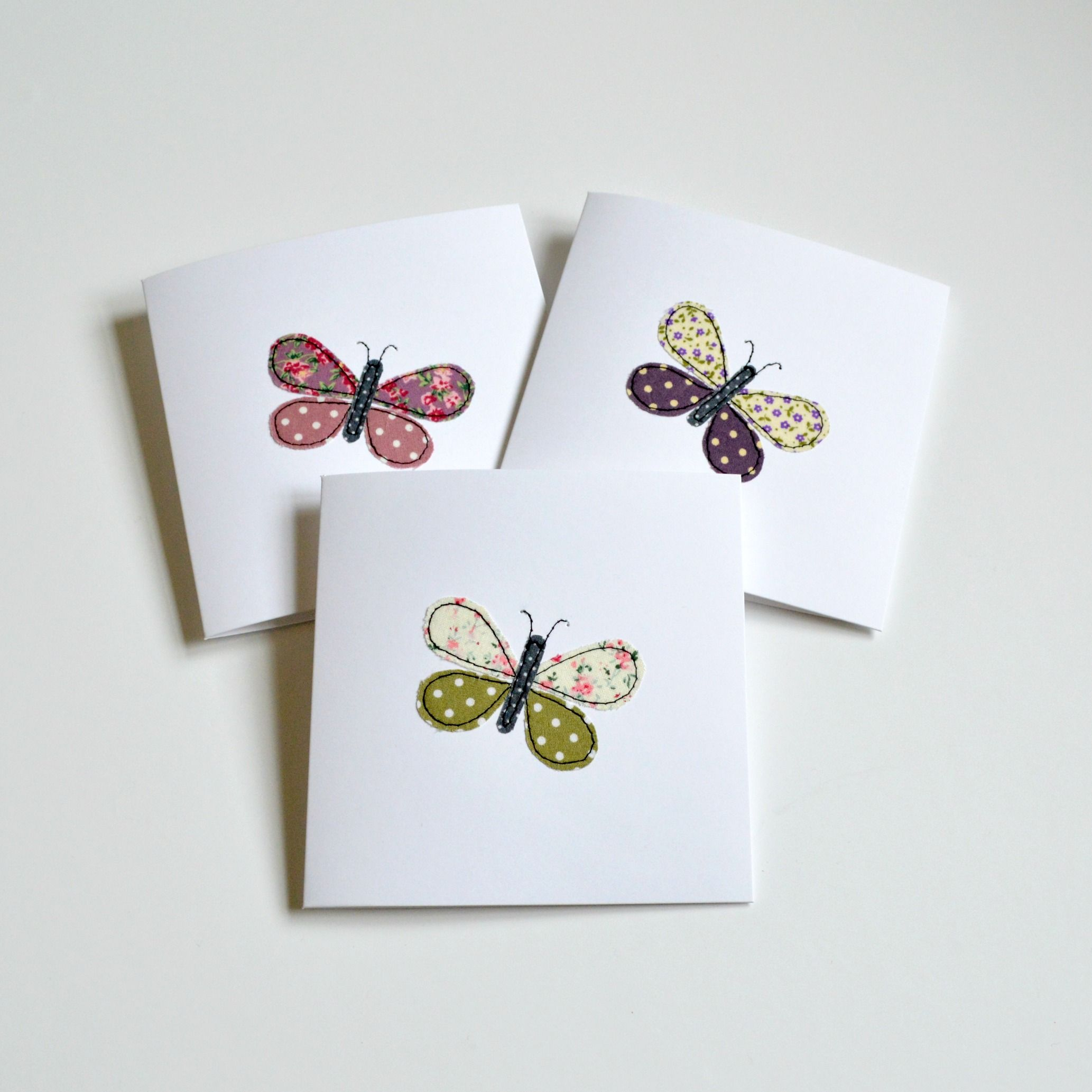 Butterfly greetings cards little pieces of fabric stitched using butterfly greetings cards little pieces of fabric stitched using freehand machine embroidery handmade by stitch kristyandbryce Image collections