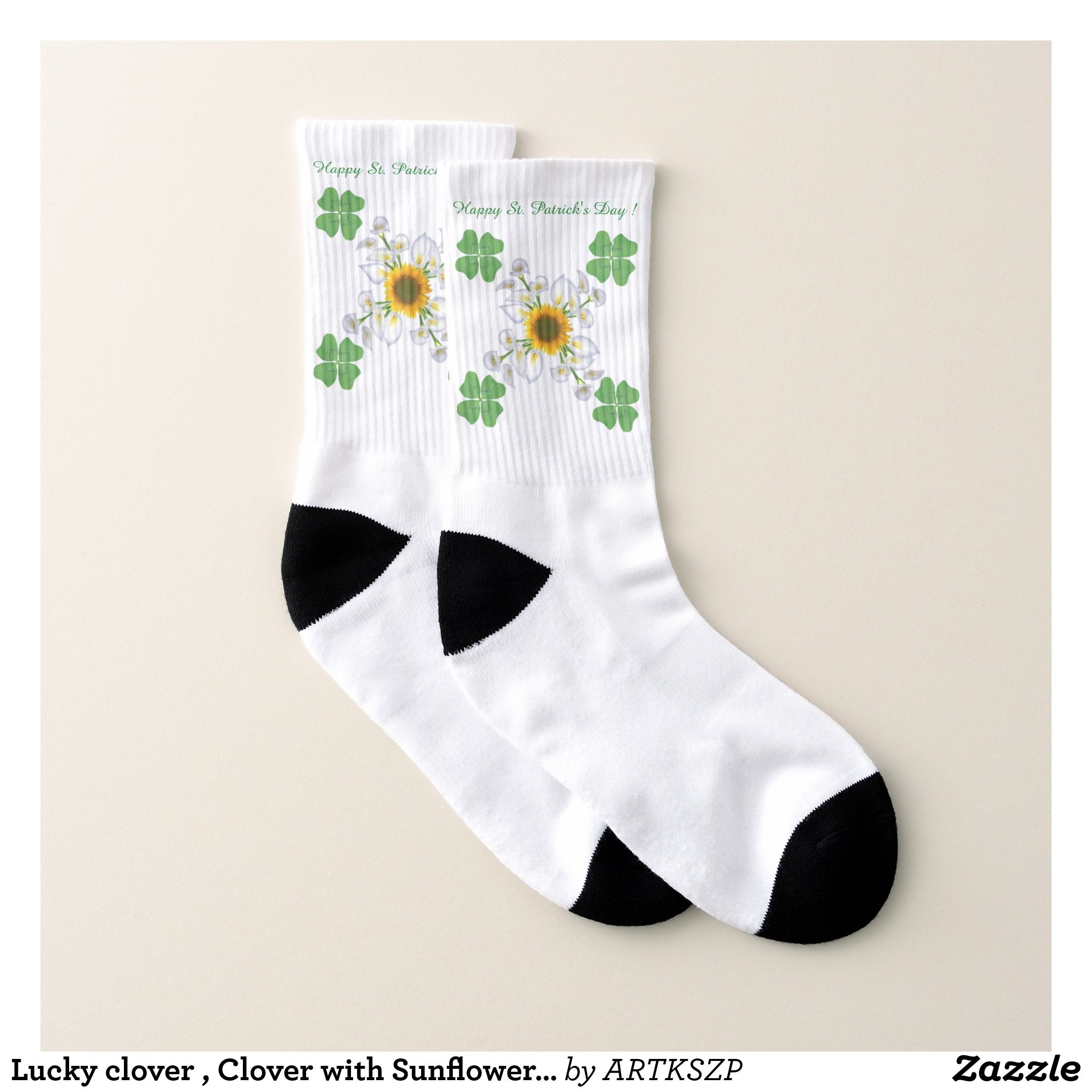 Lucky clover clover with sunflower calla lily socks printed unisex