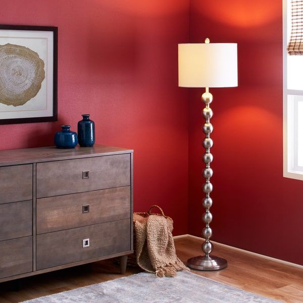 Brushed Steel Stacked Ball Floor Lamp With White Shade