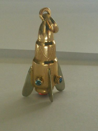 8d9513a76 Vintage-750-18k-Yellow-Gold-Rocket-Ship-Spaceship-Charm -Pendant-Jeweled-Italy