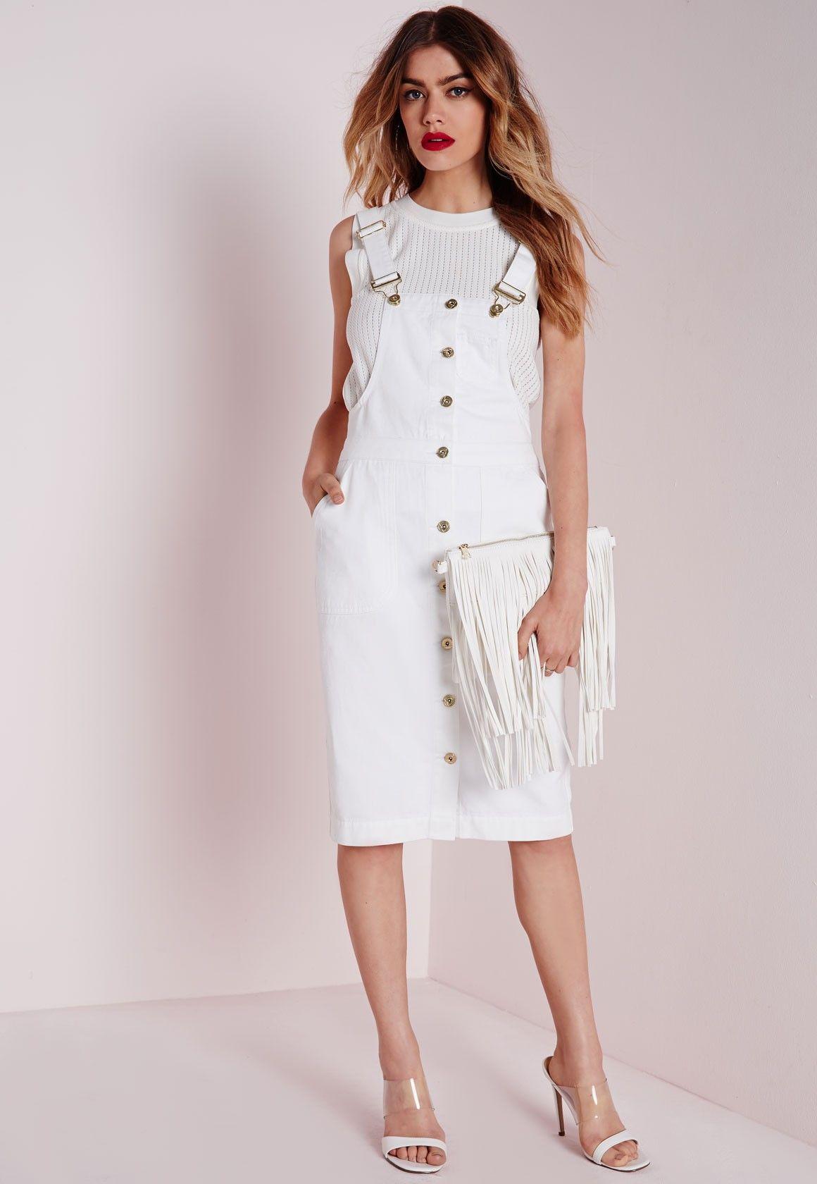 5b6be4cbad Missguided - Dungaree Denim Midi Dress White