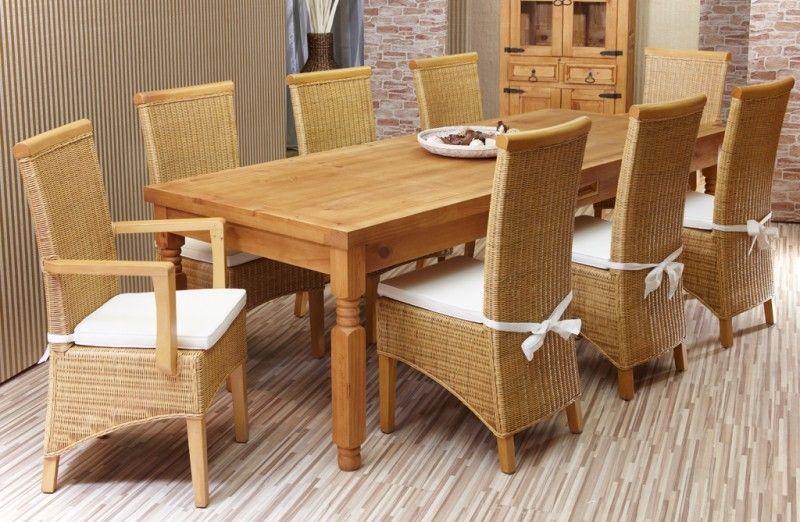 Essgruppe 180cm Gotland - Esstisch \ 6 Stühle - Pinie massiv - küchentisch mit stühlen