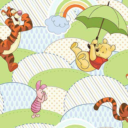 Disney pooh nursery poohs 39 umbrella hills cotton fabric - Habitacion winnie the pooh ...