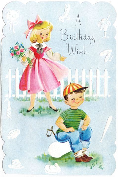 Vintage Birthday Greeting Card For Boy Or Girl