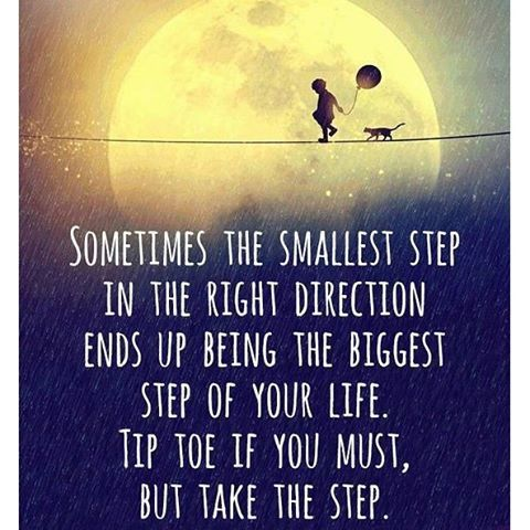 Image result for who said sometimes the smallest step in the right direction