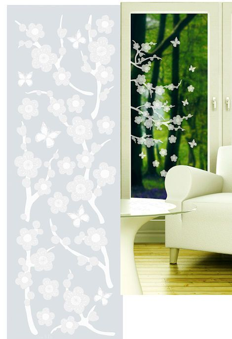 Blossom Etched Glass Peel And Stick Wall Sticker   Wall Sticker Outlet