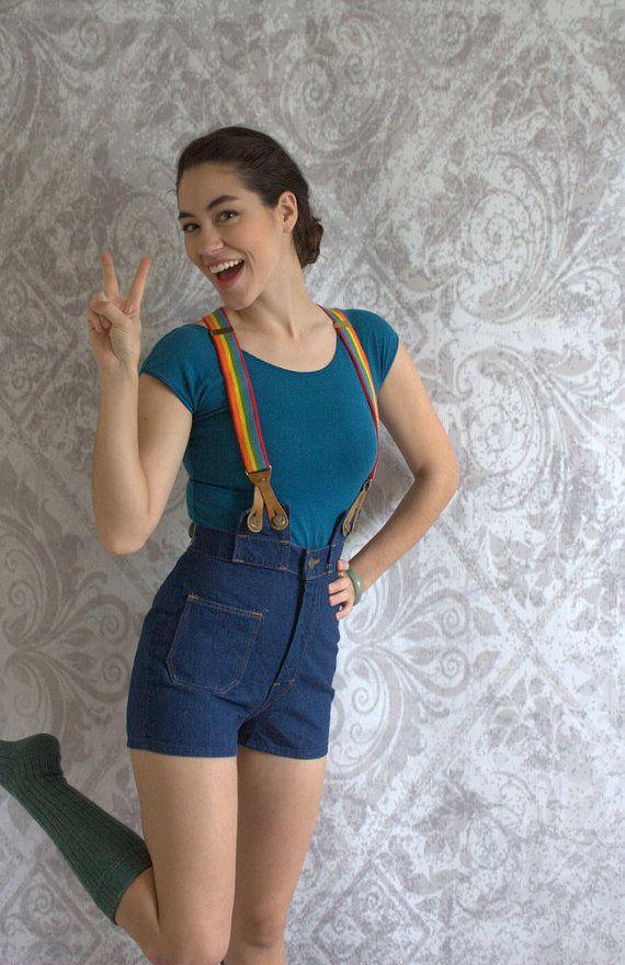 1970s High Waisted Denim Shorts with Suspenders 70s Vintage Denim ...