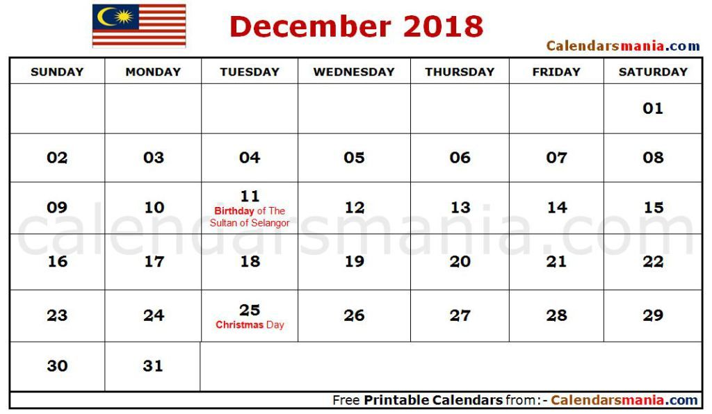 December Calendar 2018 Malaysia December 2018 Calendar For Kids