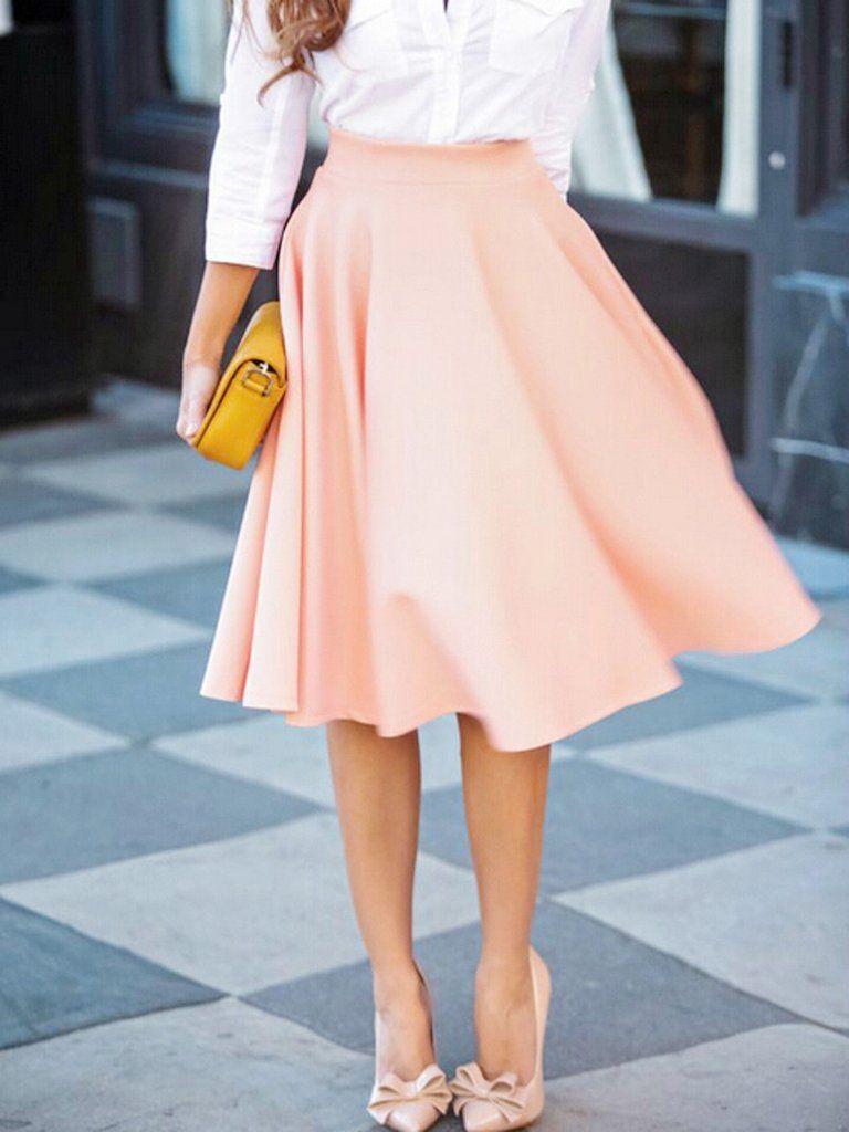 c8f16157e87c Peach Pink High Waist Midi Skater Skirt - MYNYstyle - 1