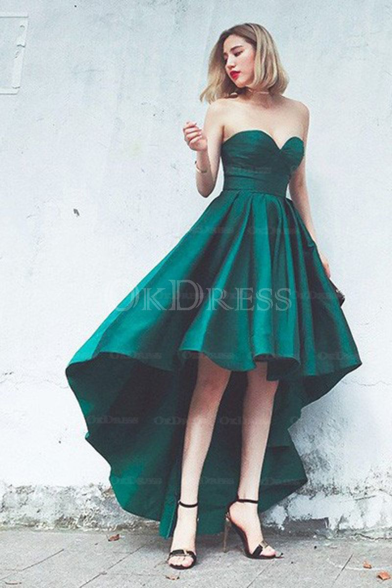 Perfect sweetheart ruffles aline asymmetrical prom dresses by