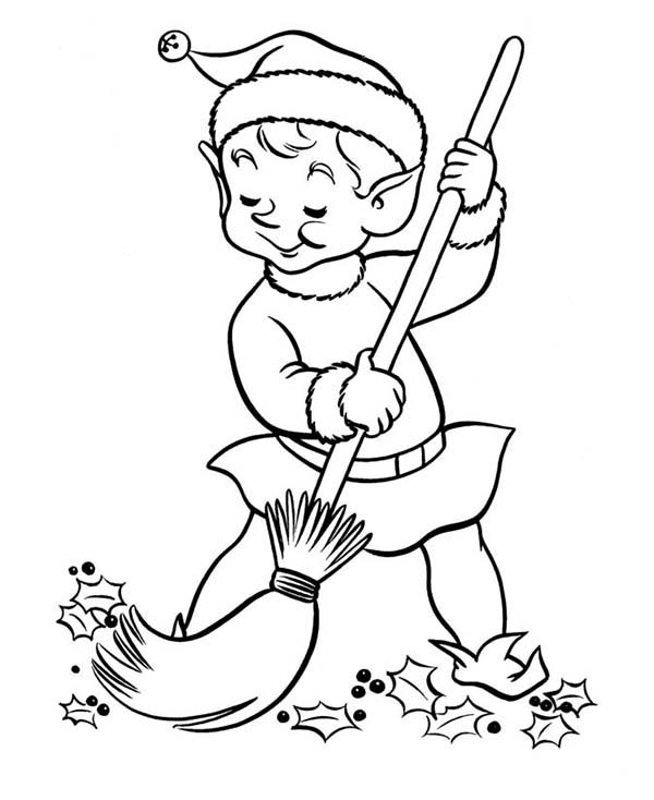 Elf Sweeping At The Yard Coloring Page Color Luna Coloring Pages Christmas Coloring Pages Christmas Coloring Sheets
