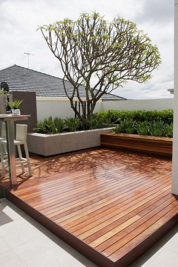 Patio Wooden Deck With Concrete Planter Garden Architecture Backyard Landscaping Roof Garden