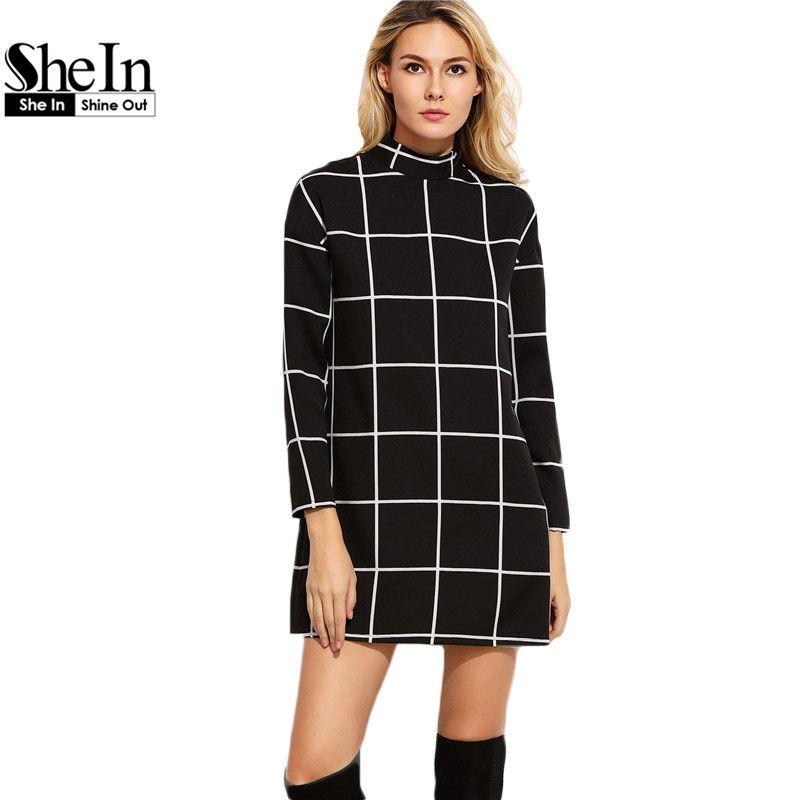 Black Grid Women Dresses Fall Ladies Office Wear Long Sleeve Dress Elegant Mock  Neck Tunic Short Dress - fashionhawk.net 91c475fbc