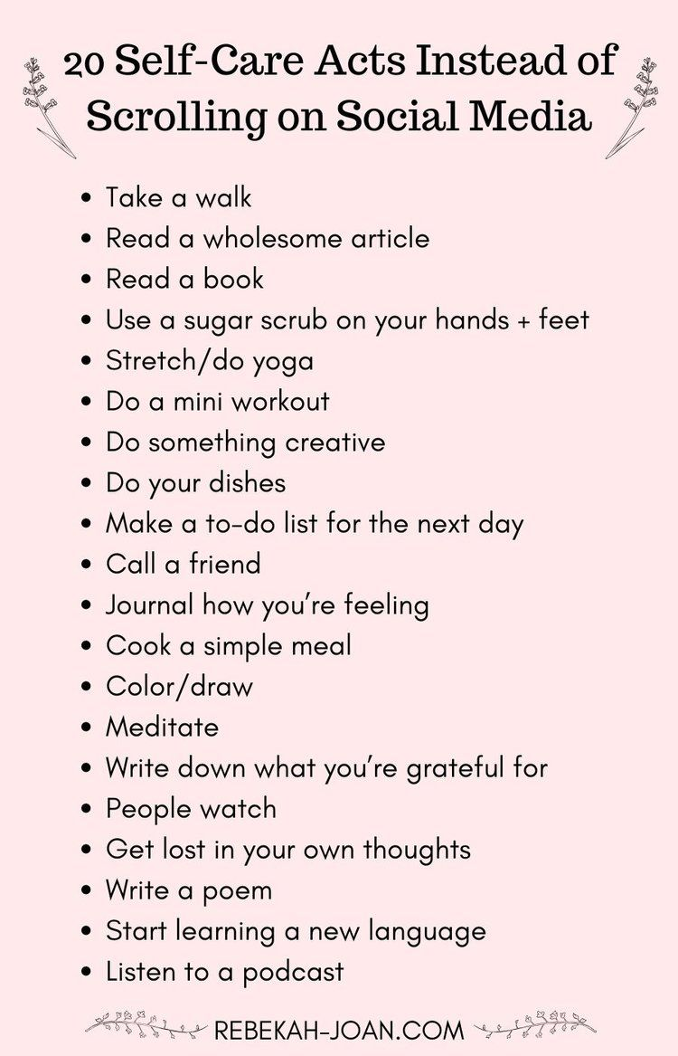 23 Self-Care Activities to Replace Scrolling on Social Media — Rebekah Joan