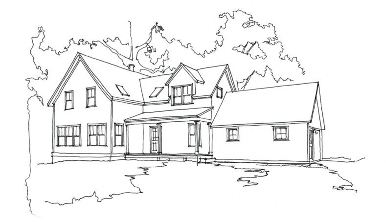 Simple Farmhouse Drawing