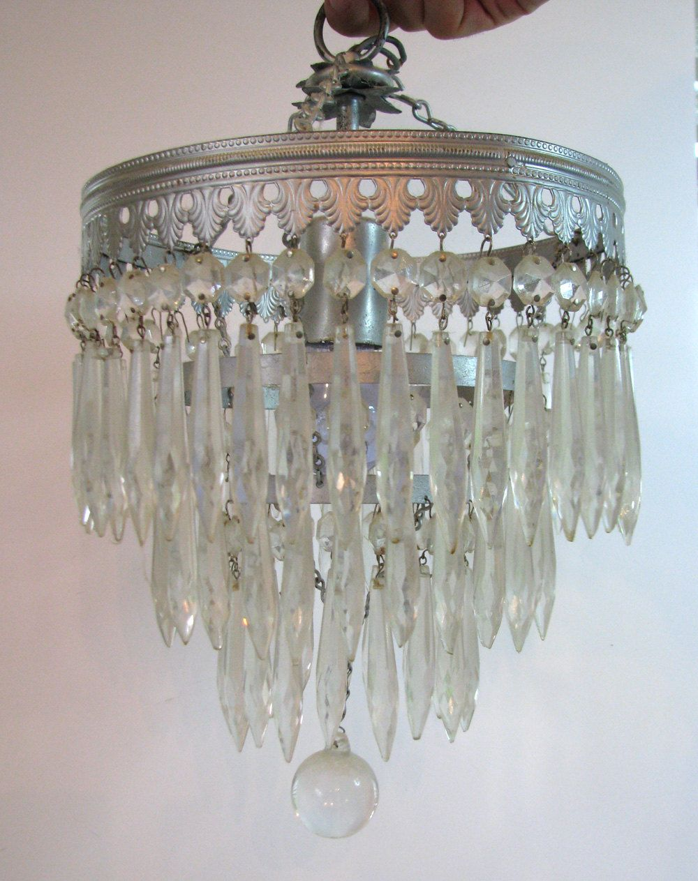Working Vintage Art Deco Glass Crystal Chandelier With 3 Tiers
